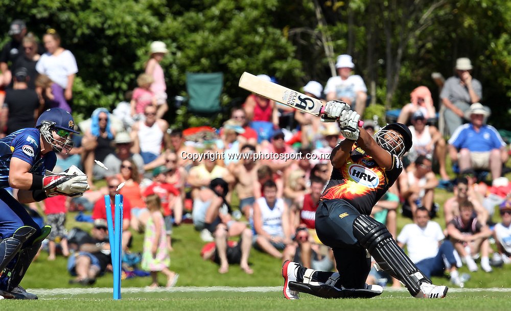 Tamim Iqbal of Wellington is bowled by Nick Beard.<br /> Twenty20 Cricket - HRV Cup, SBS Bank Otago Volts v Hell Wellington Firebirds, 23 December 2012, University Oval, Dunedin, New Zealand.<br /> Photo: Rob Jefferies / photosport.co.nz