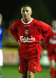 SOUTHPORT, ENGLAND - Tuesday, January 13, 2004: Liverpool's Robbie Foy in action against Everton during the 'mini-Derby' Premier League reserve match at Haige Avenue. (Pic by David Rawcliffe/Propaganda)