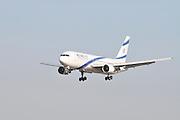 Israel, Ben-Gurion international Airport El Al Boeing 767 landing