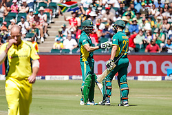 Rilee Rossouw of SA celebrates his 50 with Faf du Plessis during the 2nd ODI match between South Africa and Australia held at The Wanderers Stadium in Johannesburg, Gauteng, South Africa on the 2nd October  2016<br /> <br /> Photo by Dominic Barnardt/ RealTime Images