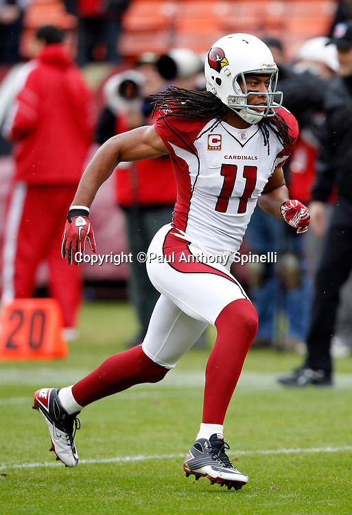 Arizona Cardinals wide receiver Larry Fitzgerald (11) goes out for a pass during the NFL week 17 football game against the San Francisco 49ers on Sunday, January 2, 2011 in San Francisco, California. The 49ers won the game 38-7. (©Paul Anthony Spinelli)