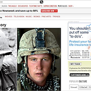 "Newsweek online with photo of U.S. Marine Damon ""Commie"" Connell in Helmand, Afghanistan by Louie Palu (right) alongside photo from Vietnam (left)."