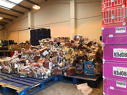 Distribution warehouse of the charity The Bread and Butter Thing, who are helping organise deliveries of food to the most vulnerable in Manchester.