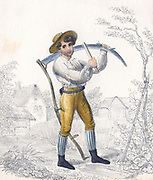 Reaper/Haymaker sharpening his scythe with a whetstone (also called a side stone) Early nineteenth century hand-coloured lithograph