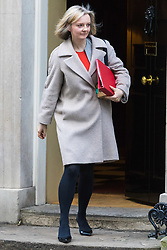 London, January 16 2018. Chief Secretary to the Treasury Elizabeth Truss leaves the UK cabinet meeting at Downing Street. © Paul Davey