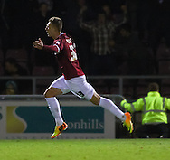 Picture by David Horn/Focus Images Ltd +44 7545 970036<br /> 16/11/2013<br /> Luke Norris of Northampton Town celebrates scoring his team's first goal to make it 1-0 during the Sky Bet League 2 match at Sixfields Stadium, Northampton.
