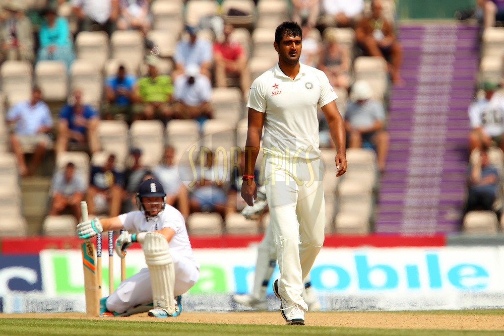 Pankaj Singh of India walks back during day four of the third Investec Test Match between England and India held at The Ageas Bowl cricket ground in Southampton, England on the 30th July 2014<br /> <br /> Photo by Ron Gaunt / SPORTZPICS/ BCCI