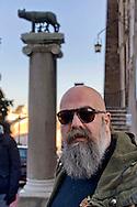 """Roma 10 Dicembre 2014<br /> Presidio  in Campidoglio, organizzato da Casapound Italia, dopo Investigation """"Mafia capitale"""" della Procura di Roma, per chiedere le dimissioni del sindaco Ignazio Marino e elezioni subito. Gianluca Iannone, presidente di CasaPound Italia<br /> Rome December 10, 2014<br /> The garrison  at Capitol, organized by Casapound Italy , after  Investigation   """"Mafia capital"""" of the prosecutor of Rome , to ask  the resignation of Mayor Ignazio Marino and elections immediately. Gianluca Iannone, president of Italy CasaPound"""