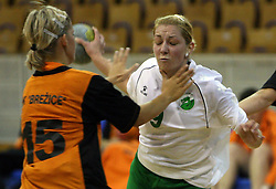 Nina Jericek of Olimpija between Amelija Lesnisek and Mateja Suban of Brezice at  handball game between women team RK Olimpija vs ZRK Brezice at 1st round of National Championship, on September 13, 2008, in Arena Tivoli, Ljubljana, Slovenija. Olimpija won 41:17. (Photo by Vid Ponikvar / Sportal Images)