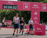 Lord Sebastian Coe finishes with Jo Pavey in The Olympians away from the start line ahead of their wave at The Vitality Westminster Mile, Sunday 28th May 2017.<br /> <br /> Photo: Neil Turner for The Vitality Westminster Mile<br /> <br /> For further information: media@londonmarathonevents.co.uk