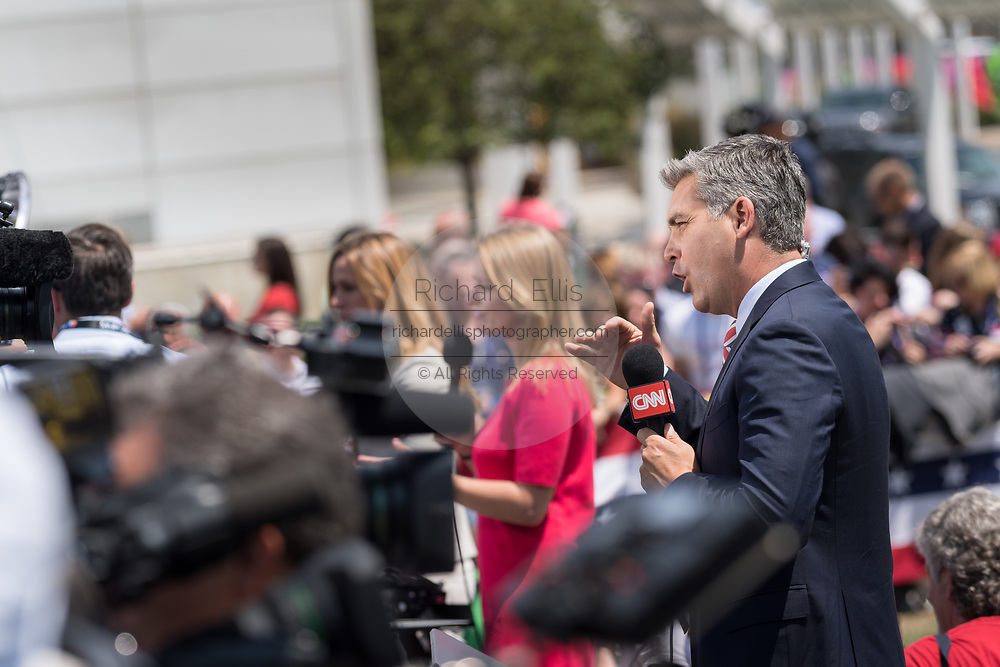 CNN report Jim Acosta during a live report of the GOP Presidential nominee Donald Trump arrival for the Republican National Convention July 20, 2016 in Cleveland, Ohio. Trump was welcomed by his children and Vice Presidential nominee Gov. Mike Pence.