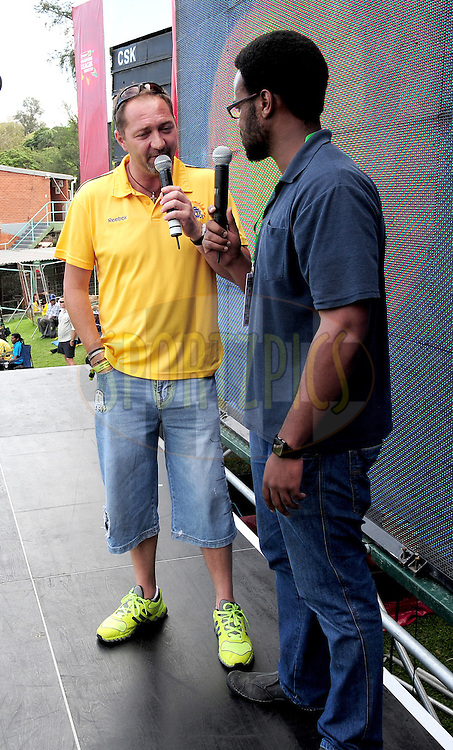 Samson Oduntan interviewing Sasha Martinengo during match 17 of the Karbonn Smart CLT20 South Africa between The Chennai Superkings and Yorkshire held at Kingsmead Park in Durban, South Africa on the 22nd October 2012..Photo by Gerhard Duraan/SPORTZPICS/CLT20