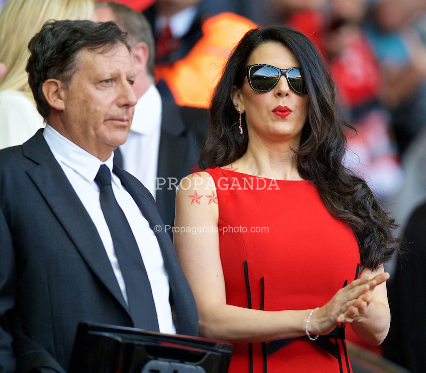 LIVERPOOL, ENGLAND - Monday, August 17, 2015: Linda Pizzuti, wife of Liverpool FC owner John W. Henry before the Premier League match against AFC Bournemouth at Anfield. (Pic by David Rawcliffe/Propaganda)