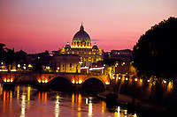 Ponte S. Angelo (bridge) and Tiber River (St. Peter's Basilica, Vatican in back), Rome, Italy