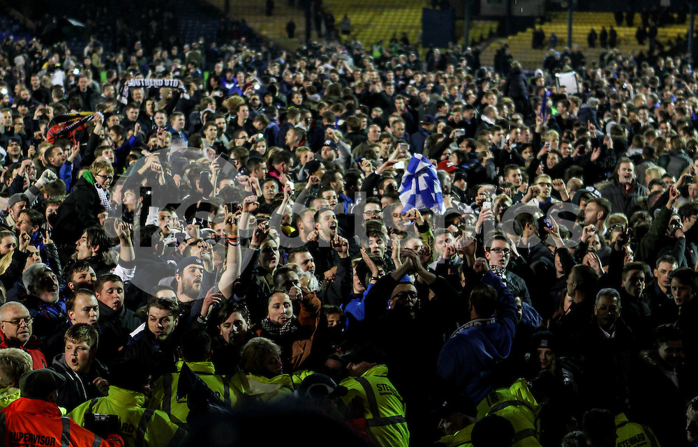 Southend United supporters celebrate going to Wembley during the Sky Bet League 2 Play-Off 2nd leg match between Southend United and Stevenage at Roots Hall, Southend, England on 14 May 2015. Photo by Ken Sparks.