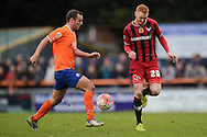 Ryan Taylor of Oxford United looks to get past Matt Paine of Braintree Town during the FA Cup match between Braintree Town and Oxford United at the Avanti Stadium, Braintree<br /> Picture by Richard Blaxall/Focus Images Ltd +44 7853 364624<br /> 08/11/2015