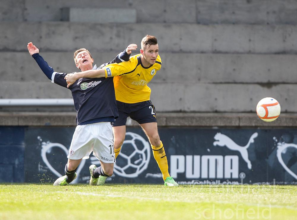 Raith Rovers Joe Cardle and Falkirk's Kieran Duffie..Raith Rovers 0 v 0 Falkirk, 27/4/2013..© Michael Schofield.