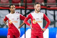 UTRECHT - Utrecht - Roda JC , Voetbal , Eredivisie, Seizoen 2015/2016 , Stadion Galgenwaard , 17-10-2015 , FC Utrecht speler Sean Klaiber (l) en FC Utrecht speler Bart Ramselaar (r) balen van de 1-1 tegen
