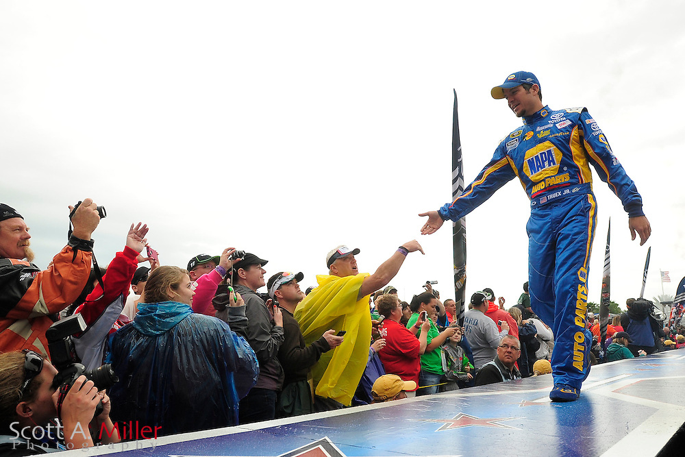 Sprint Cup Series driver Martin Truex Jr. (56) during driver introductions prior to the Daytona 500 at Daytona International Speedway on Feb 26, 2012 in Daytona Beach, Fla. ..(SPECIAL TO FOX SPORTS.COM/Scott A. Miller).