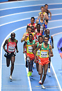 Yomif Kejelcha (ETH)  leads the filed in the Men's 3000m Final during the final session of the IAAF World Indoor Championships at Arena Birmingham in Birmingham, United Kingdom on Saturday, Mar 2, 2018. (Steve Flynn/Image of Sport)