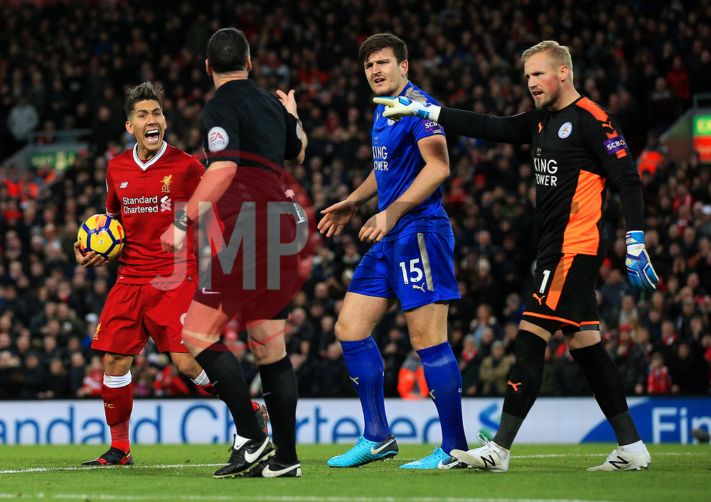 Roberto Firmino of Liverpool reacts towards the referee - Mandatory by-line: Matt McNulty/JMP - 30/12/2017 - FOOTBALL - Anfield - Liverpool, England - Liverpool v Leicester City - Premier League