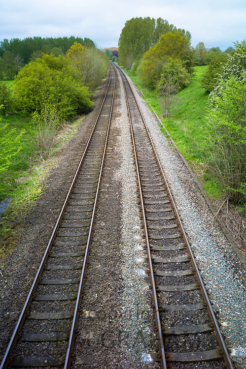 Railway track on train line near Kingham in Oxfordshire, UK