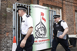 © Licensed to London News Pictures. 19/09/2018. London, UK. The scene where a car hit two pedestrians outside an Islamic centre in Cricklewood, North London. The incident , which took place inn the early hours of this morning outside Hussaini Association community centre, is being treated as a possible hate crime. Police are looking for a male driver who failed to stop at the scene, as well as two men and one woman in the car, all in their 20s. Photo credit: Peter Macdiarmid/LNP