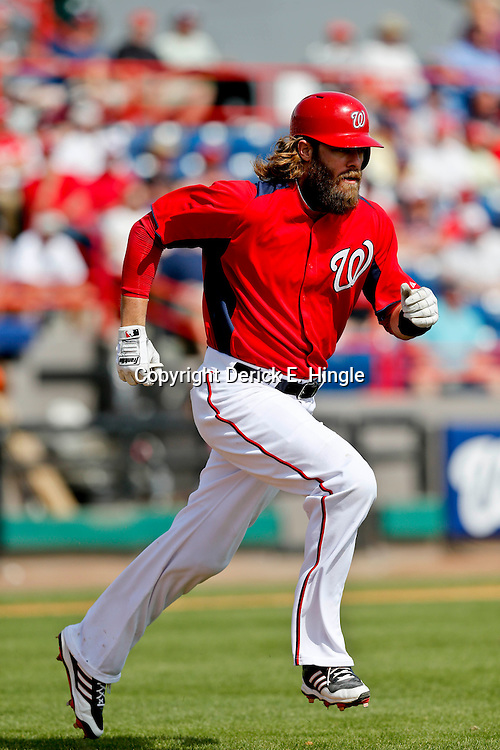 Mar 9, 2013; Melbourne, FL, USA; Washington Nationals right fielder Jayson Werth (28) against the Miami Marlins during a spring training game at Space Coast Stadium. Mandatory Credit: Derick E. Hingle-USA TODAY Sports