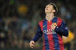 Barcelona's Lionel Messi cuts a dejected figure as Joe Hart saves his shot - Photo mandatory by-line: Dougie Allward/JMP - Mobile: 07966 386802 - 18/03/2015 - SPORT - Football - Barcelona - Nou Camp - Barcelona v Manchester City - UEFA Champions League - Round 16 - Second Leg