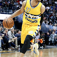 04 March 2017: Denver Nuggets guard Jamal Murray (27) drives during the Charlotte Hornets 112-102 victory over the Denver Nuggets, at the Pepsi Center, Denver, Colorado, USA.