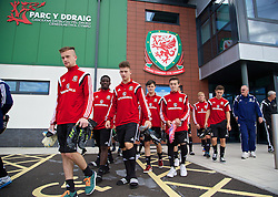 NEWPORT, WALES - Wednesday, September 24, 2014: Wales players before a training session at Dragon Park ahead of the Under-16's International Friendly match against France. Scott Coughlan, Ibi Sosani, Liam Angel, Liam Cullen, Dylan Levitt. (Pic by David Rawcliffe/Propaganda)