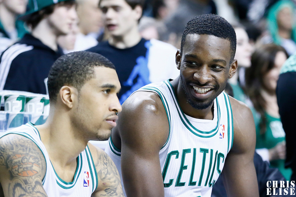 03 February 2013: Boston Celtics power forward Jeff Green (8) talks to Boston Celtics shooting guard Courtney Lee (11) on the bench during the Boston Celtics 106-104 victory over the Los Angeles Clippers at the TD Garden, Boston, Massachusetts, USA.