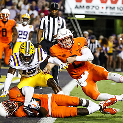 Sep 23, 2017; Baton Rouge, LA, USA; Syracuse Orange wide receiver Ervin Philips (3) catches a touchdown past LSU Tigers cornerback Kary Vincent Jr. (15) during the third quarter of a game at Tiger Stadium. Mandatory Credit: Derick E. Hingle-USA TODAY Sports