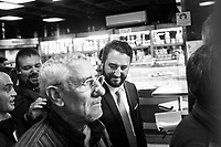 VILLAFRANCA TIRRENA, ITALY - 27 OCTOBER 2017: Five Star Movement (Italian: Movimento 5 Stelle, or M5S) candidate Giancarlo Cancelleri (center), running for governor of Sicily in the upcoming Sicilan regional election, talks to a supporter in Villafranca Tirrena, Italy, during his campaign on October 27th 2017. <br /> <br /> The Sicilian regional election for the renewal of the Sicilian Regional Assembly and the election of the President of Sicily will be held on 5th November 2017.