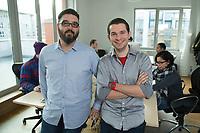 17 JAN 2014, BERLIN/GERMANY:<br /> Chad Fowler (L), CTO, 6 Wunderkinder GmbH, and Christian Reber (R), CEO, 6 Wunderkinder GmbH, into the office of 6 Wunderkinder GmbH, Brunnenstrasse 141, 10115 Berlin<br /> IMAGE: 20140117-02-010<br /> KEYWORDS: Büro, Buero, Start-up