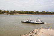 Ste. Genevieve, Missouri MO USA, A ferry with 2 cars crossing the Mississippi at Ste. Genevieve, MO.