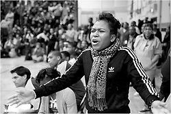 PIAA District 12 Semifinals, South Philadelphia High School, Philadelphia, PA - February 21, 2013; MLK Supporter reacts from the sideline.