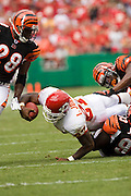KANSAS CITY, MO - SEPTEMBER 10:  Running back Larry Johnson #37 of the Kansas City Chiefs dives forward after being tackled during a game against the Cincinnati Bengals on September 10, 2006 at Arrowhead Stadium in Kansas City, Missouri.  The Bengals won 23 to 10.  (Photo by Wesley Hitt/Getty Images)***Local Caption***Larry Johnson