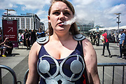 UNITED KINGDOM, London: 27-28 May 2017 A cosplay fan 'vapes' outside the MCM London Comic Con. <br /> The comic convention, which will be visited by tens of thousands of comic book and cosplay fans, is being held at London's ExCel this weekend. Rick Findler / Story Picture Agency