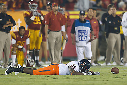 September 11, 2010; Los Angeles, CA, USA;  Virginia Cavaliers fullback Max Milien (36) reacts after dropping a pass against the Southern California Trojans during the fourth quarter at the Los Angeles Memorial Coliseum. USC defeated Virginia 17-14.