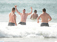 3 July 2013; Stuart Hogg, British & Irish Lions, during a recovery session in the sea at Noosa Beach following squad training ahead of their 3rd test match against Australia on Saturday. British & Irish Lions Tour 2013, Recovery Session. Noosa Heads, Queensland, Australia. Picture credit: Stephen McCarthy / SPORTSFILE