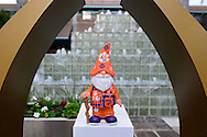 Jan 8, 2016; Scottsdale, AZ, USA; Clemson Tigers garden gnome signed by Clemson Tigers head coach Dabo Swinney sits on the College Football Playoff National Championship logo at Hyatt Regency Scottsdale Resort at Gainey Ranch. Mandatory Credit: Jennifer Stewart-USA TODAY Sports