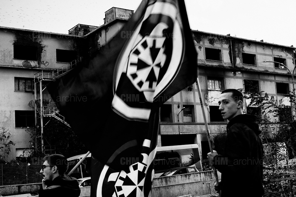 Protest by the Italian far-right movement CasaPound in front of the former penicillin factory where about 200 irregular immigrants live to ask for immediate eviction on November 22, 2018 in Rome, Italy. Christian Mantuano / OneShot