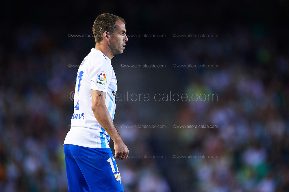 "SEVILLE, SPAIN - SEPTEMBER 23:  Sergio Paulo Barbosa ""Duda"" of Malaga CF looks on during the match between Real Betis Balompie vs Malaga CF as part of La Liga at Benito Villamarin stadium on September 23, 2016 in Seville, Spain.  (Photo by Aitor Alcalde Colomer/Getty Images)"