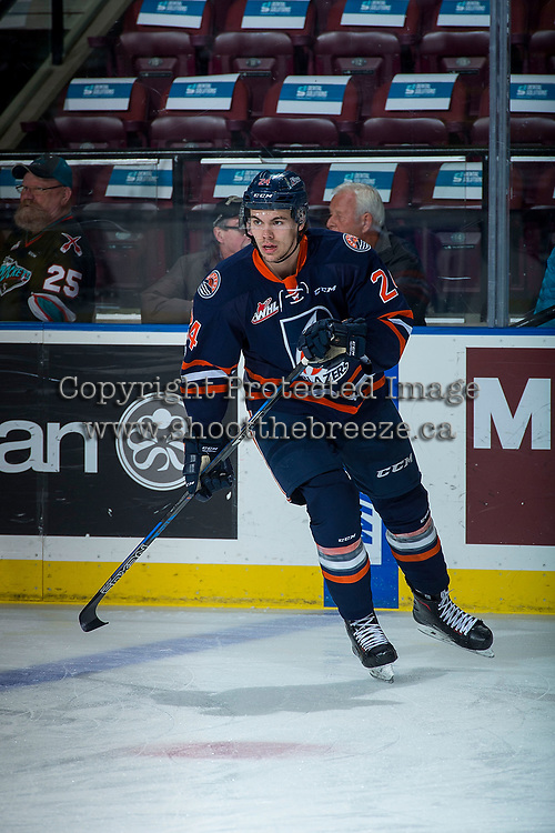 KELOWNA, CANADA - DECEMBER 27: Luc Smith #24 of the Kamloops Blazers warms up against the Kelowna Rockets on December 27, 2017 at Prospera Place in Kelowna, British Columbia, Canada.  (Photo by Marissa Baecker/Shoot the Breeze)  *** Local Caption ***