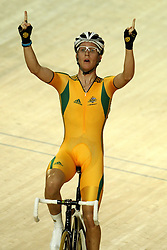 Cameron Meyer of Australia celebrates the win during the Men's 40km Points Race Final in the Velodrome at the Indira Gandhi Sports Complex in New Delhi as part of the X1X Commonwealth Games, India on the 5 October 2010..Photo by:  Ron Gaunt/SPORTZPICS/PHOTOSPORT