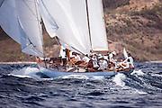Galatea sailing in the Windward Race at the Antigua Classic Yacht Regatta.