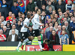 12.05.2013, Craven Cottage, London, ENG, Premier League, FC Fulham vs FC Liverpool, 37. Runde, im Bild Fulham's Dimitar Berbatov celebrates scoring the first goal against Liverpool during during the English Premier League 37th round match between Fulham FC and Liverpool FC at the Craven Cottage, London, Great Britain on 2013/05/12. EXPA Pictures © 2013, PhotoCredit: EXPA/ Propagandaphoto/ David Rawcliffe..***** ATTENTION - OUT OF ENG, GBR, UK *****