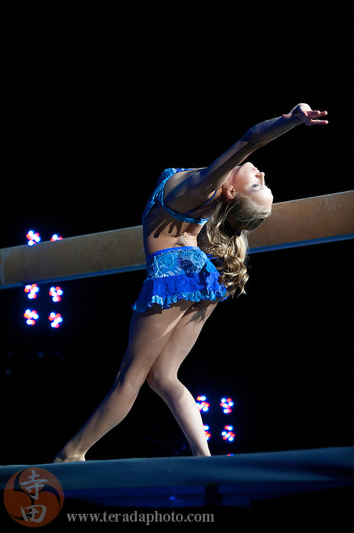 Sep 21, 2008; San Jose, CA, USA; Nastia Liukin performs on the balance beam during the 2008 Tour of Gymnastics Superstars post-Beijing Olympic tour at HP Pavilion in San Jose, CA. Mandatory Credit: Kyle Terada-Terada Photo
