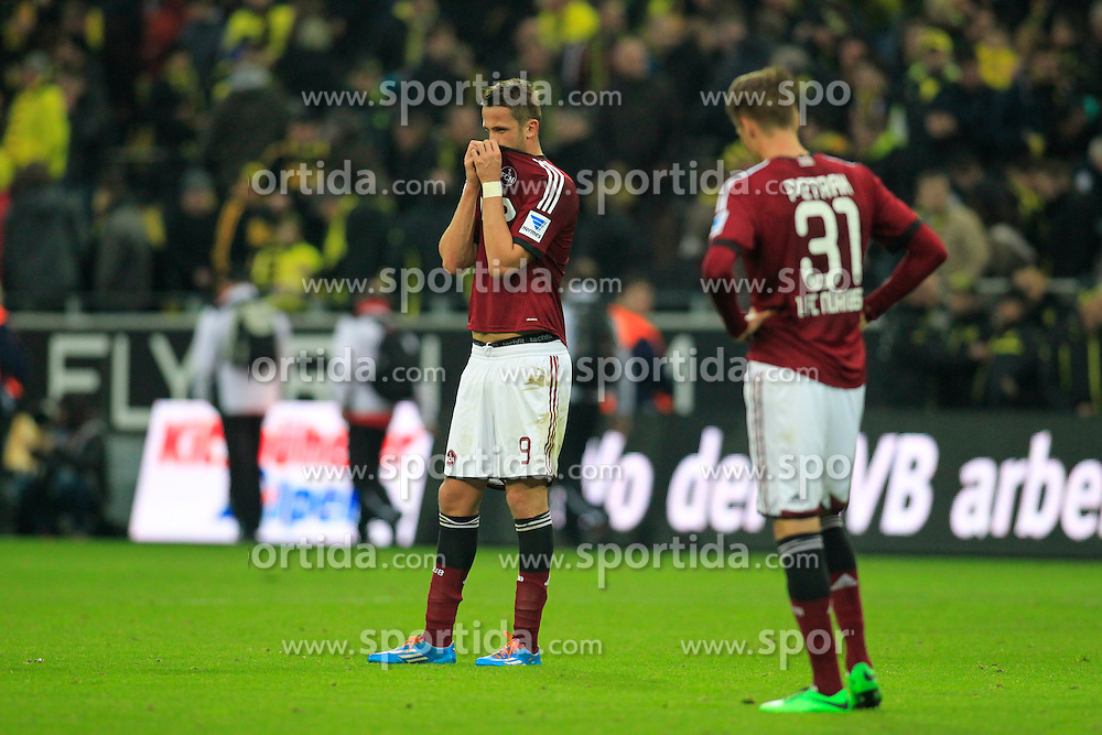 01.03.2014, Signal Iduna Park, Dortmund, GER, 1. FBL, Borussia Dortmund vs 1. FC Nuernberg, 23. Runde, im Bild Tomas Pekhart (1 FC Nuernberg #9), Ondrej Petrak (1 FC Nuernberg #31) enttaeuscht, niedergeschlagen, traurig, Emotion // during the German Bundesliga 23th round match between Borussia Dortmund and 1. FC Nuernberg at the Signal Iduna Park in Dortmund, Germany on 2014/03/01. EXPA Pictures &copy; 2014, PhotoCredit: EXPA/ Eibner-Pressefoto/ Schueler<br /> <br /> *****ATTENTION - OUT of GER*****